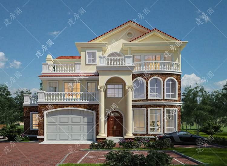 农村三层豪华欧式别墅设计图纸,带旋转楼梯