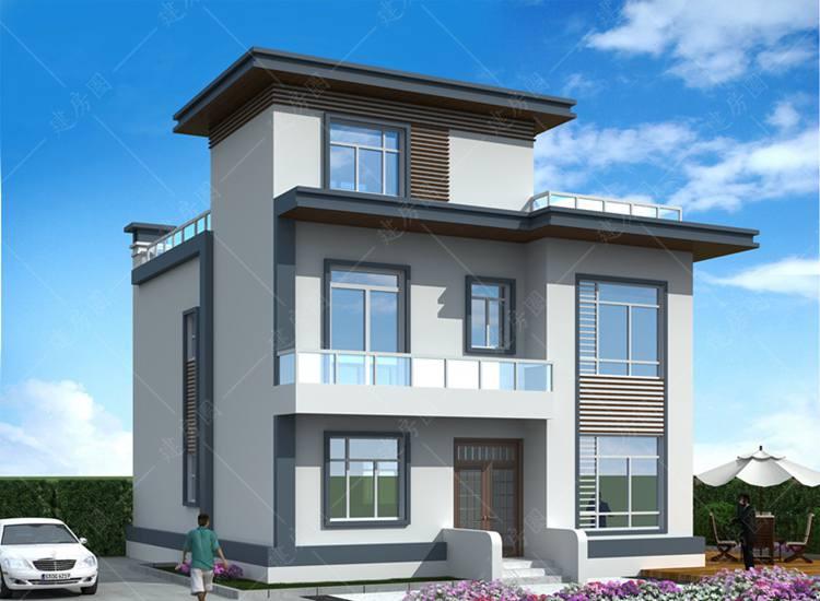 农村三层现代别墅设计图,平屋顶设计