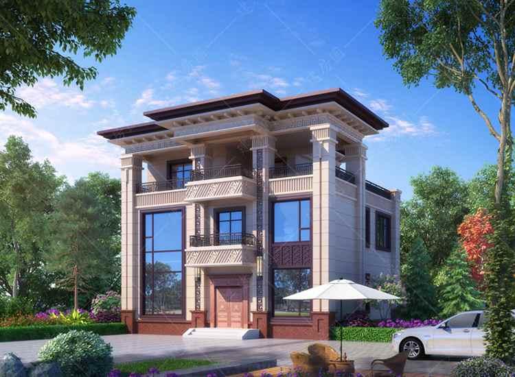 荣归故里就建这种三层新中式别墅