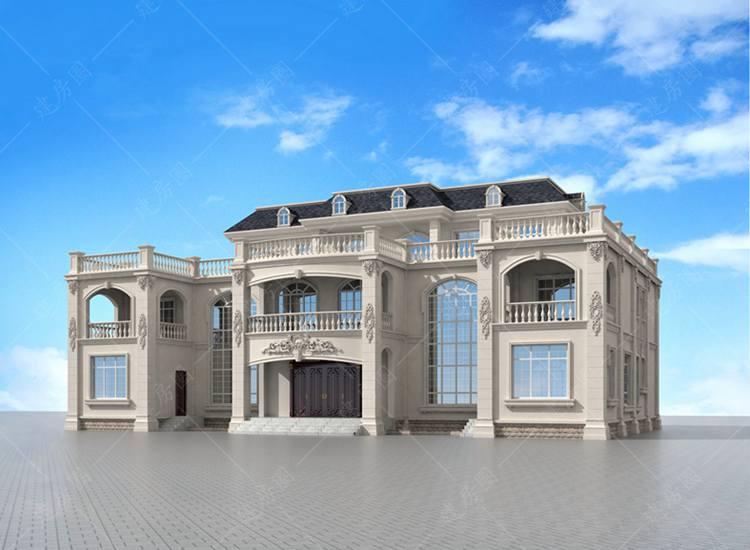 三层大气豪华法式双拼别墅设计图纸