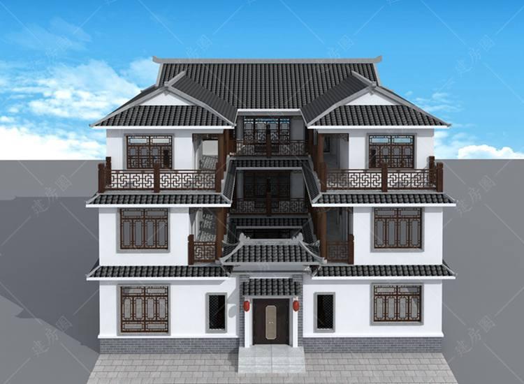 三层新中式四合院别墅设计图