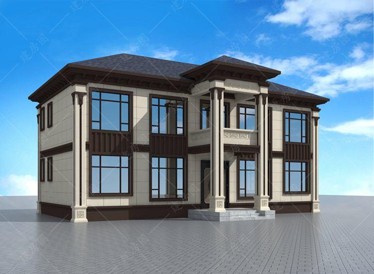 农村四间两层新中式别墅设计图,外观新颖