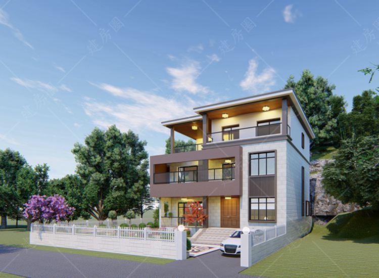 农村三层别墅设计图,平屋顶带庭院打造