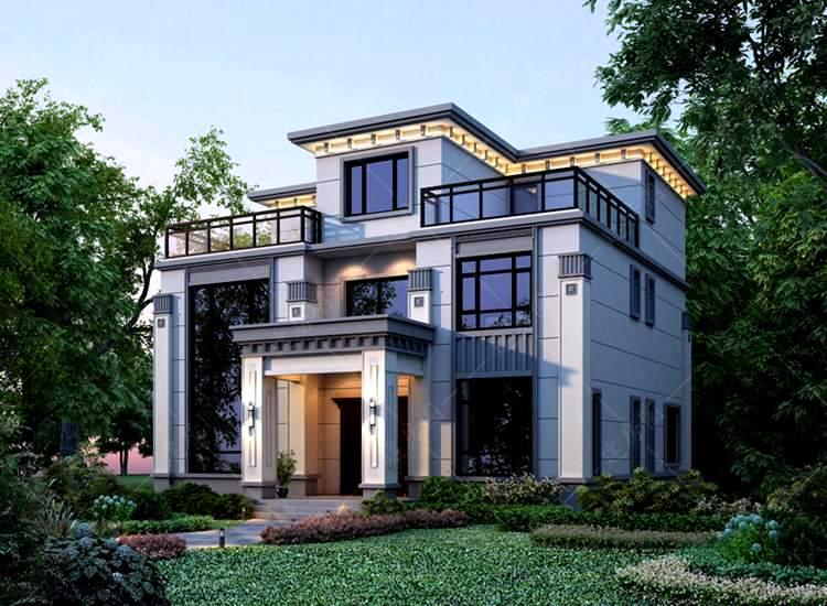 三层新中式农村自建别墅设计,平屋顶施工方便