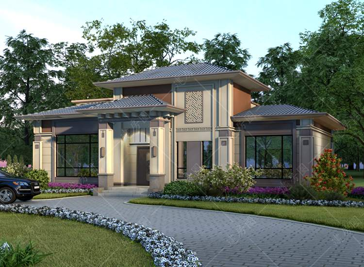 新款农村一层半别墅设计图,典雅新中式