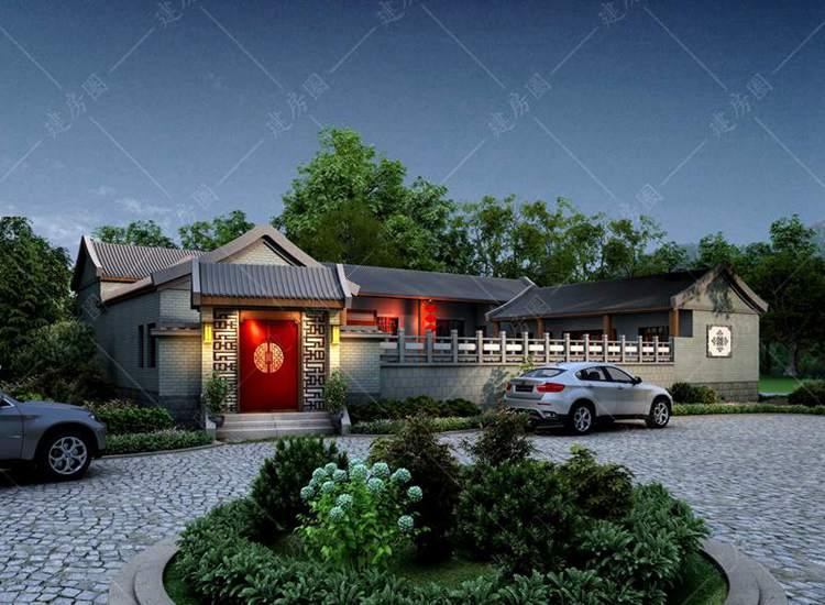 乡村一层中式四合院设计图纸,带庭院设计