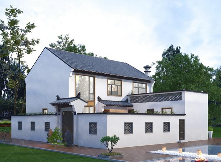 农村二层新中式别墅设计图纸,带小院设计