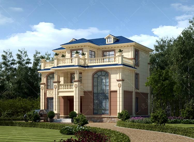 农村三层欧式自建房户型图带外观效果图