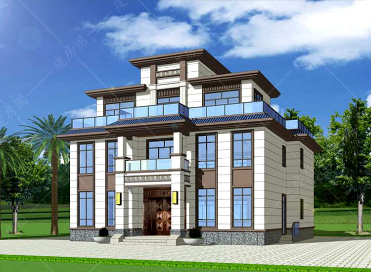 农村三层半新中式别墅设计图纸,外观端庄大气