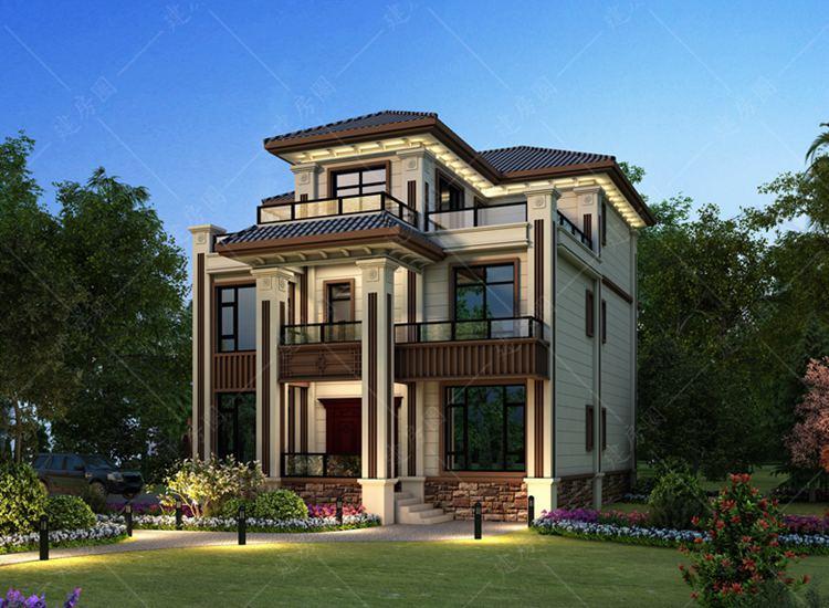 乐山夹江三层自建房别墅设计,外观豪华大气,室内带电梯