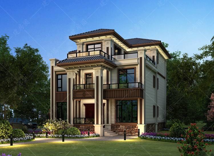 农村三层豪华新中式别墅设计图,古典与现代结合