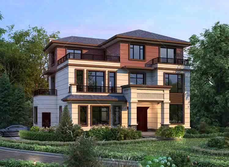 成都郫县乡村三层新中式别墅设计,外观新颖好看