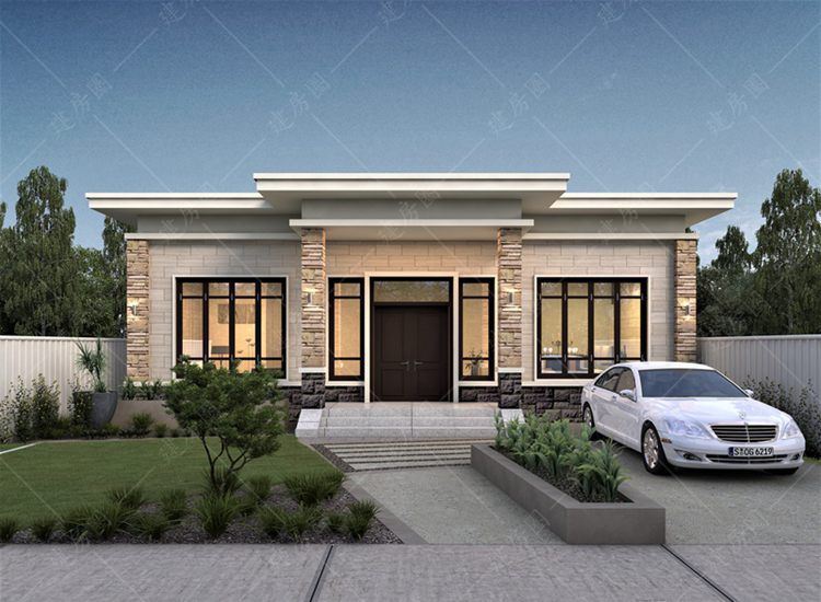甘肃临夏一层小别墅定制设计,平屋顶施工方便