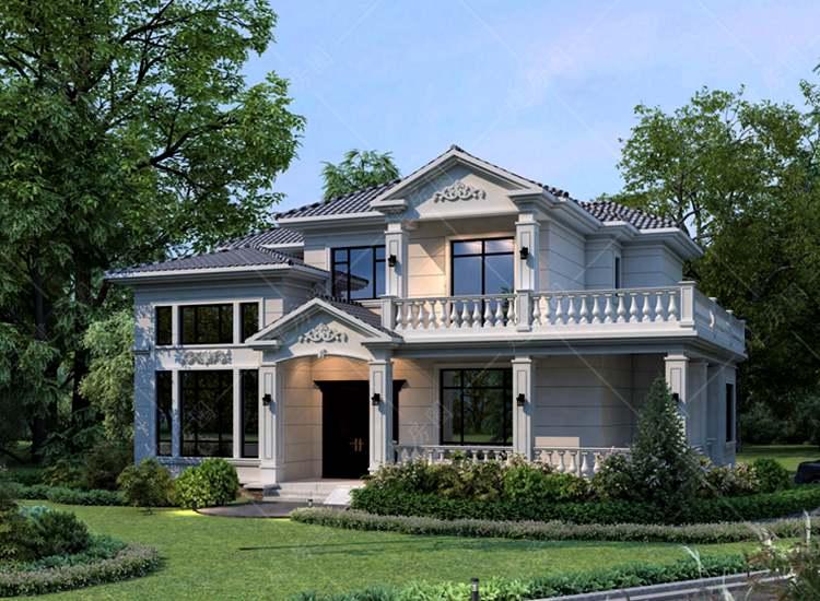 农村经典二层欧式自建房设计图纸,屋面错落有致